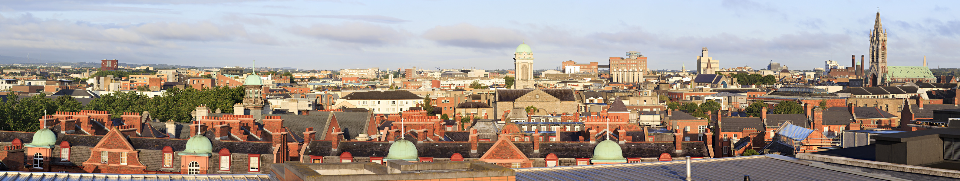 Dublin, Ireland - August 19, 2014: Morning panorama of center in the Dublin.
