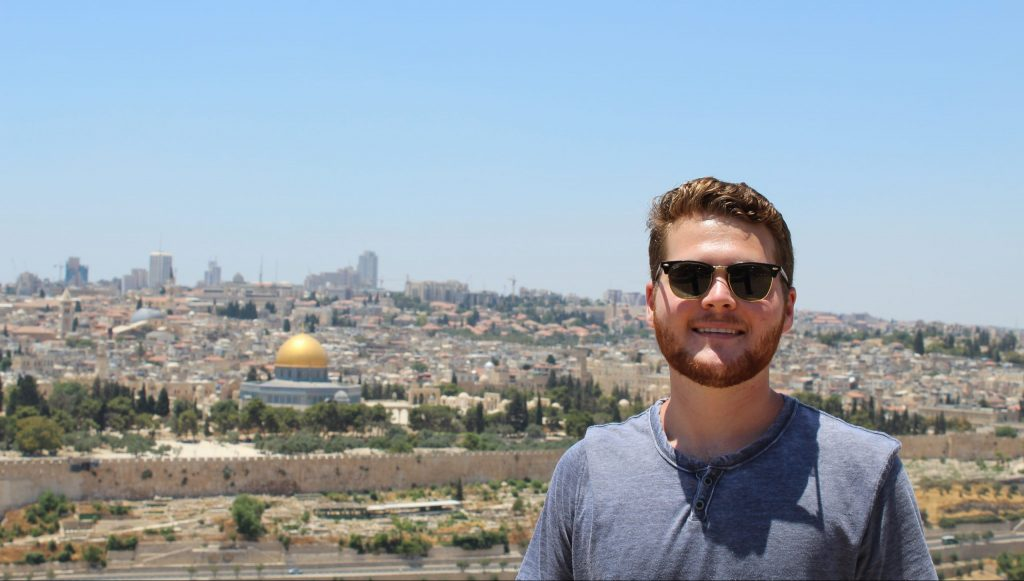 Caleb Ray, a 2020 Boren Scholar, during a visit to Jerusalem.