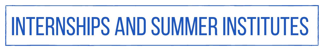 Internships and Summer Institutes